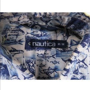 90s Nautica Fish All Over Print Button Down Shirt
